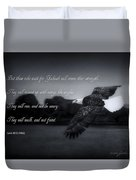 Bald Eagle In Flight With Bible Verse Duvet Cover