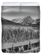 Banff Bow River Black And White Duvet Cover