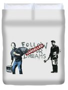 Banksy - The Tribute - Follow Your Dreams - Steve Jobs Duvet Cover by Serge Averbukh