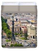 Barcelona With Tree-lined Las Ramblas Duvet Cover