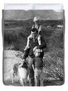 Barry Sadler With Sons And Family Collie Tucson Arizona 1971 Duvet Cover