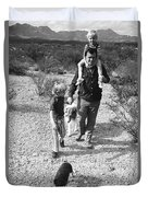 Barry Sadler With Sons Baron And Thor Taking A Stroll 1 Tucson Arizona 1971 Duvet Cover