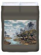 Batrachotomus Dinosaurs -3d Render Duvet Cover