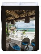 Beach Bar In Sok San Area Of Koh Rong Island Cambodia Duvet Cover