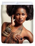 Beautiful African American Woman Wearing Jewelry Duvet Cover