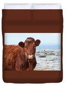 Beautiful Brown Cow On The Burren In Ireland Duvet Cover