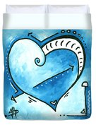 Beautiful Original Acrylic Heart Painting From The Pop Of Love Collection By Madart Duvet Cover