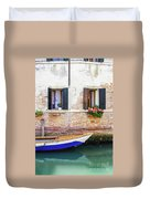 Beautiful View Of Water Street And Old Buildings In Venice, Ital Duvet Cover