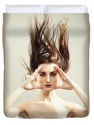 Beautiful Woman With Windswept Hair Duvet Cover