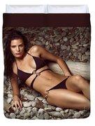 Beautiful Young Woman In Black Bikini On A Pebble Beach Duvet Cover by Oleksiy Maksymenko