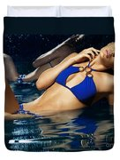Beautiful Young Woman In Blue Bikini Duvet Cover