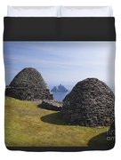 Beehive Stone Huts, Skellig Michael, County Kerry, Ireland Duvet Cover