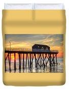 Belmar Fishing Pier Sunrise Duvet Cover