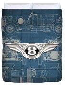 Bentley - 3 D Badge Over 1930 Bentley 4.5 Liter Blower Vintage Blueprint Duvet Cover