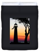 Biloxi Lighthouse At Dusk Duvet Cover