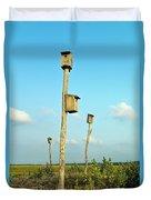 Birdhouses In Salt Marsh. Duvet Cover