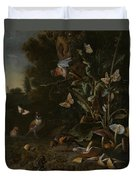 Birds Butterflies And A Frog Among Plants And Fungi Duvet Cover