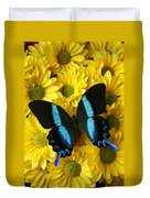 Black And Blue Butterfly Duvet Cover