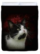 Black And White Tuxedo Cat Duvet Cover