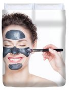 Black Charcoal Mask Application On Beautiful Woman. Duvet Cover