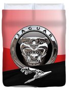 Black Jaguar - Hood Ornaments And 3 D Badge On Red Duvet Cover