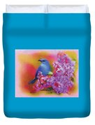 Blue Bird In The Lilac's Duvet Cover