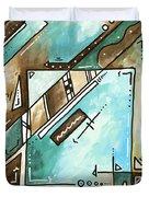 Blue Bonnet Original Abstract Pop Art Style Acrylic Painting By Madart Duvet Cover