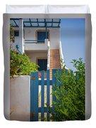 Blue Gate In Greece Duvet Cover