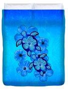 Blue Hibiscus And Honu Turtles Duvet Cover