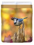 Blue Jay With Acorn Duvet Cover