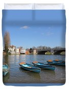 Blue Rowing Boats On The Thames At Hampton Court London Duvet Cover