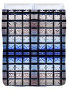 Blue Toned Glass Brick Window Abstract  Duvet Cover