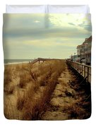 Boardwalk In Winter Duvet Cover