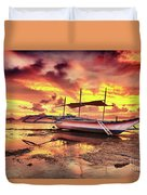 Boat At Sunset Duvet Cover