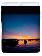 Boats And Sunrise Above Lake Water Summer Time Latvia Ezera Skanas Duvet Cover