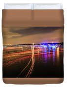 Boats Light Trails On Lake Wylie After 4th Of July Fireworks Duvet Cover
