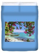 Boats, The Andaman Sea And Hills In Ko Phi Phi Don, Thailand Duvet Cover