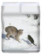 Bobcat Lynx Rufus Hunting Muskrat Duvet Cover by Michael Quinton