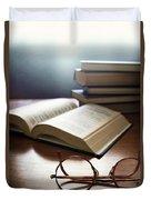 Books And Glasses Duvet Cover