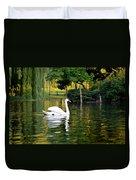 Boston Public Garden Swan Green Reflection Duvet Cover