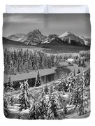 Bow Valley River View Black And White Duvet Cover