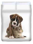 Boxer Puppy And Guinea Pig Duvet Cover