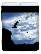 Boy Jumping With Birds Duvet Cover