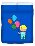 Boy With Balloons Duvet Cover