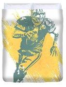 Brett Favre Green Bay Packers Water Color Art 1 Duvet Cover