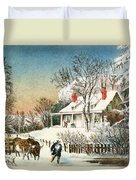 Bringing Home The Logs Duvet Cover by Currier and Ives