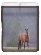 Brown Horse In Fog Duvet Cover