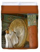 Buddhist Monk Drumming Duvet Cover