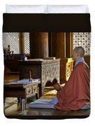Buddhist Monk In Prayer Duvet Cover