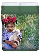 Burmese Girl With Puppy Duvet Cover